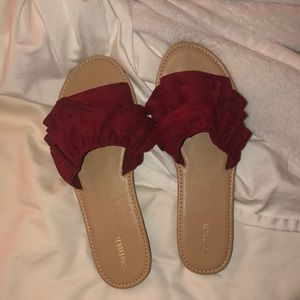 Cute red frilly sandals